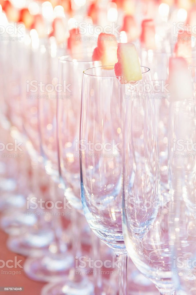Group of empty cocktail glasses stock photo