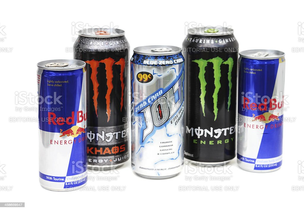 Group of energy drinks including Red Bull stock photo