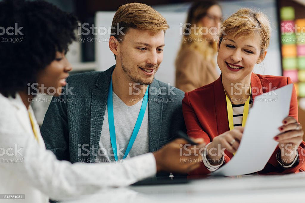Group of Entrepreneurs At Work In Their Office stock photo