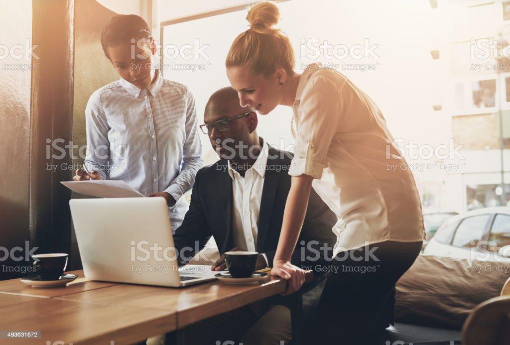 Group of entrepreneurs working stock photo