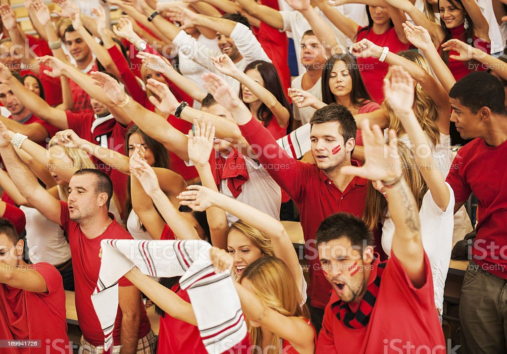 Group of  fans cheering. stock photo