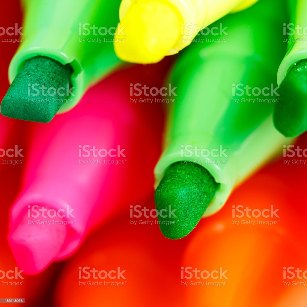 Group of felt tip bright color markers on white background royalty-free stock photo