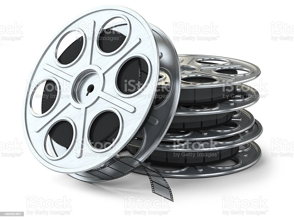 Group of film reels stock photo