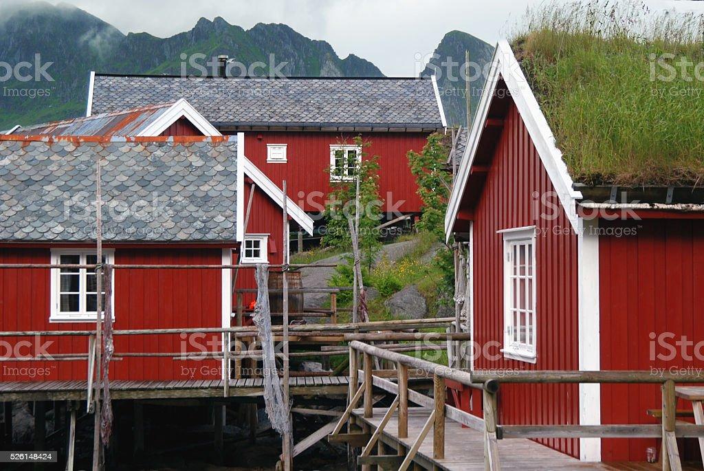 Group of fishermen's houses, Lofoten, Norway stock photo