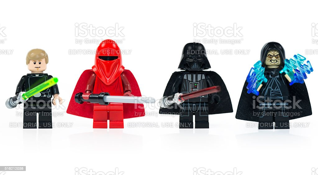 Group of five various Lego Star Wars mini characters isolated stock photo