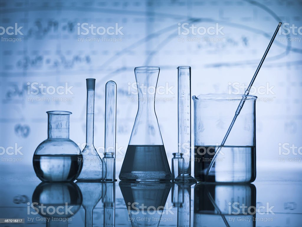 Group of flask on a lab table stock photo
