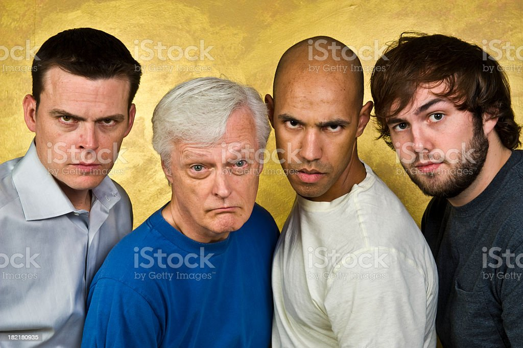 Group of Four Angry Men royalty-free stock photo