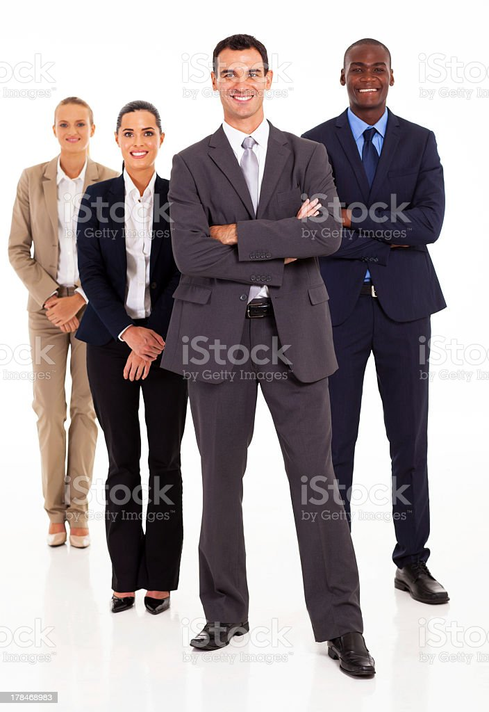 A group of four business people with a white background stock photo