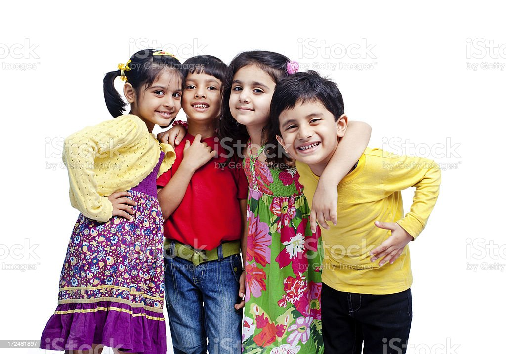 Group of Four Indian Children Only Isolated on White royalty-free stock photo