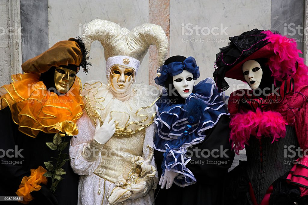Group of Four masks at carnival in Venice (XXL) stock photo