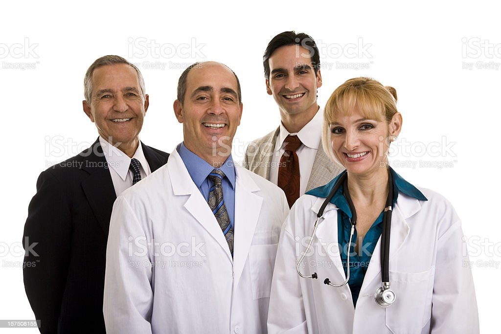 Group of four multi-aged adutls, female doctor with three men royalty-free stock photo