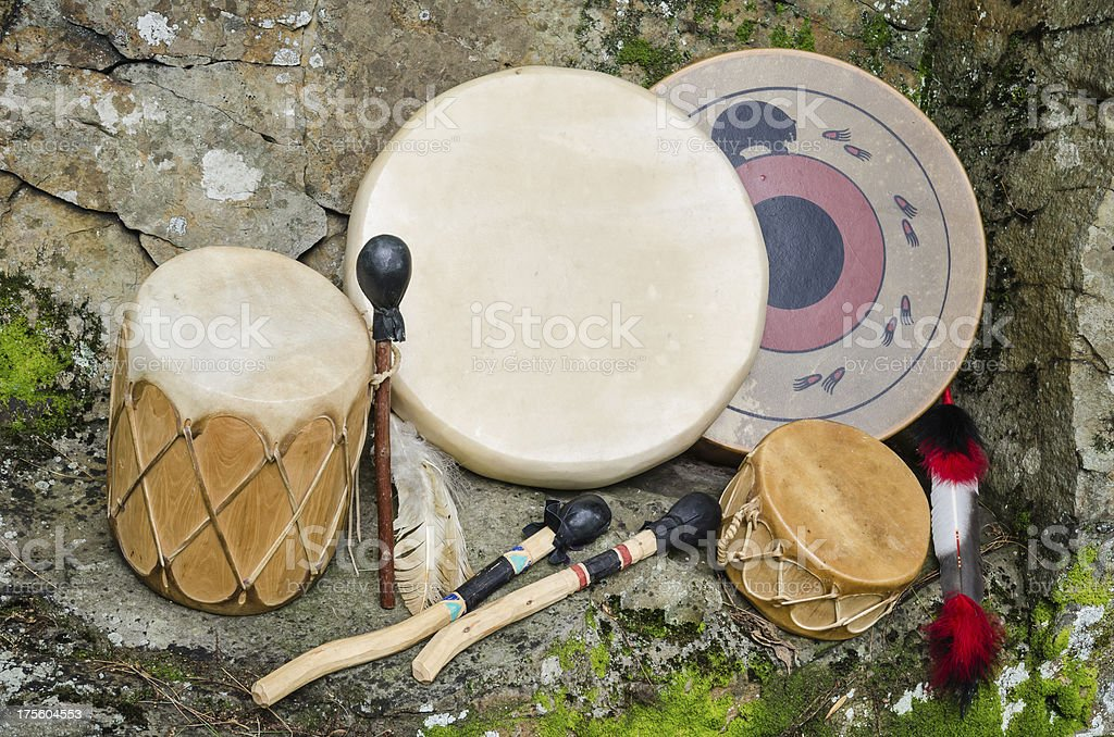 Group of four, Native American Drums. royalty-free stock photo