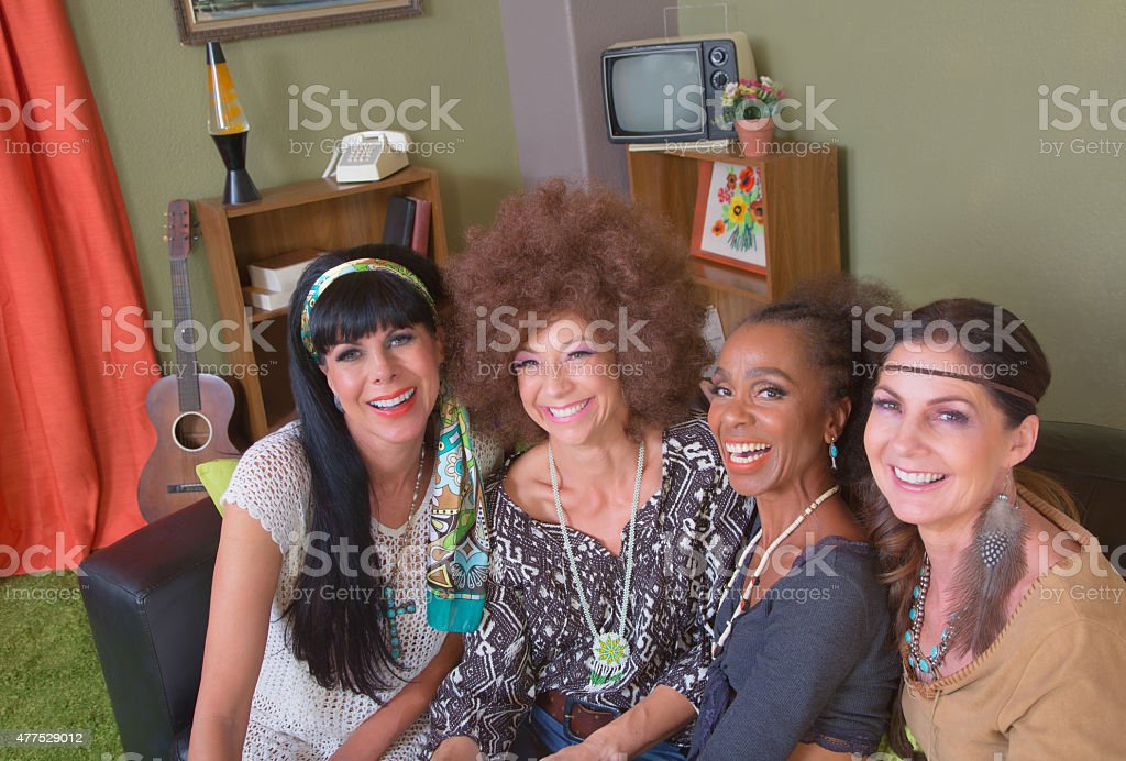 Group of Four Smiling Ladies stock photo