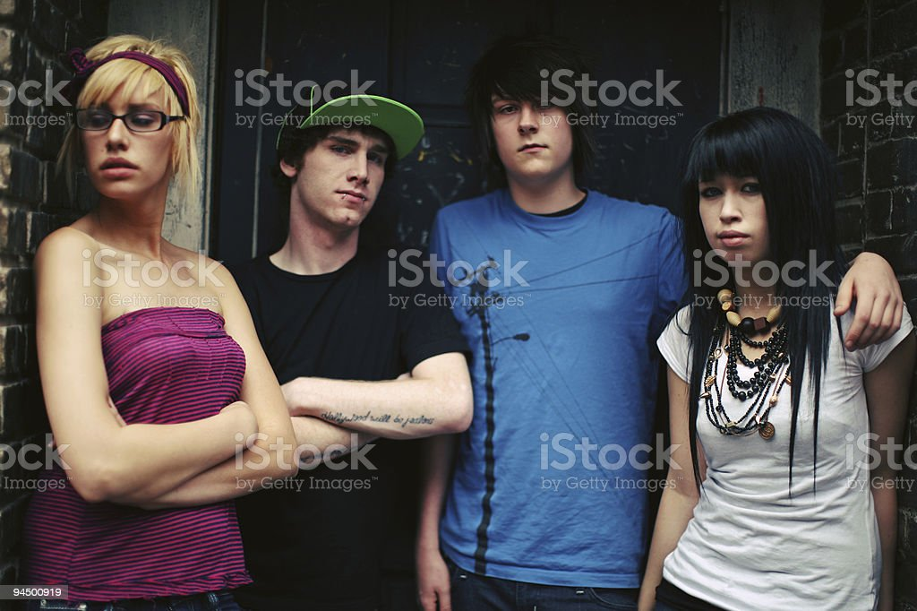 Group of Four Teen Friends stock photo