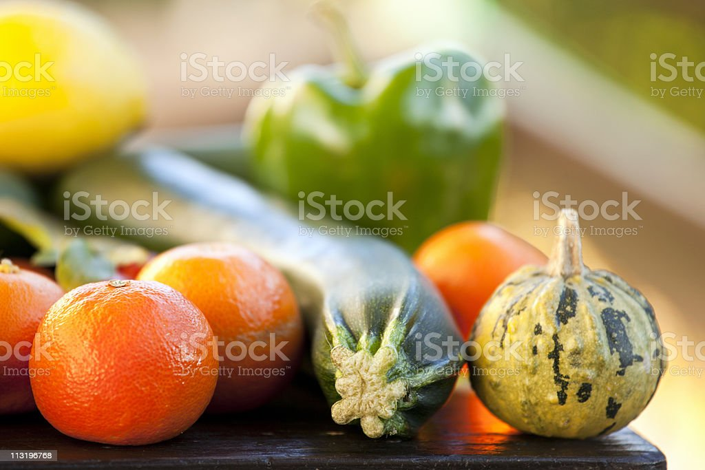 Group of fresh food on a table stock photo