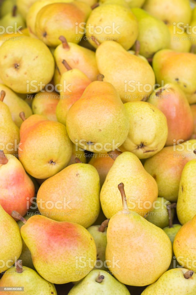 Group of fresh yellow pears stock photo