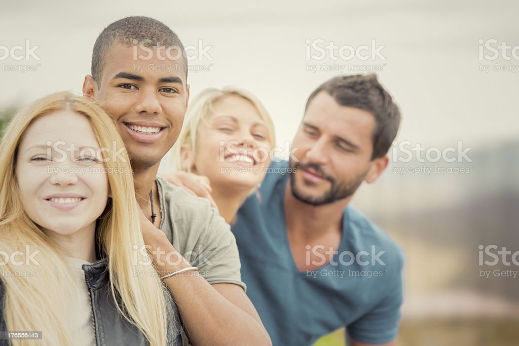 Group of friend enjoying together outdoor stock photo