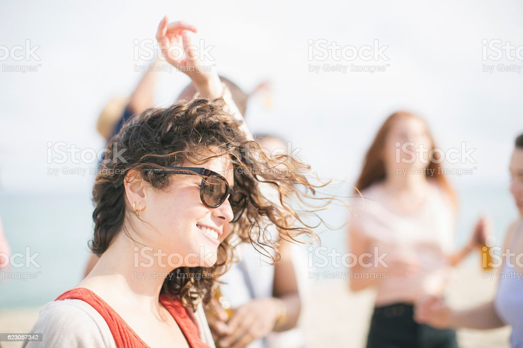 Group of friends  celebrating a summer outdoor party. friends  c stock photo