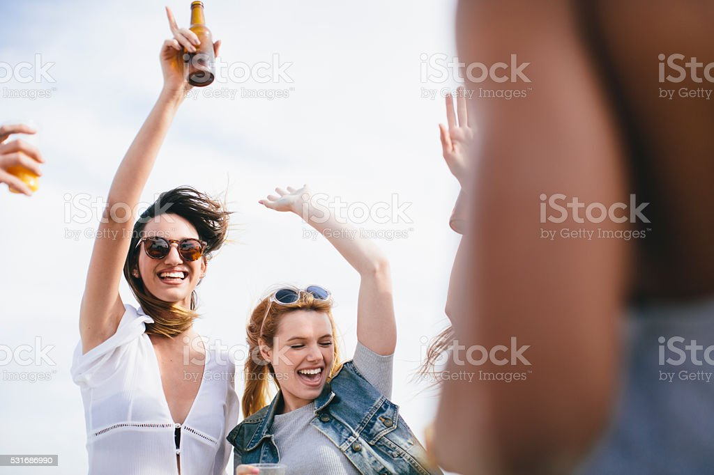 Group of friends  celebrating a summer outdoor party stock photo