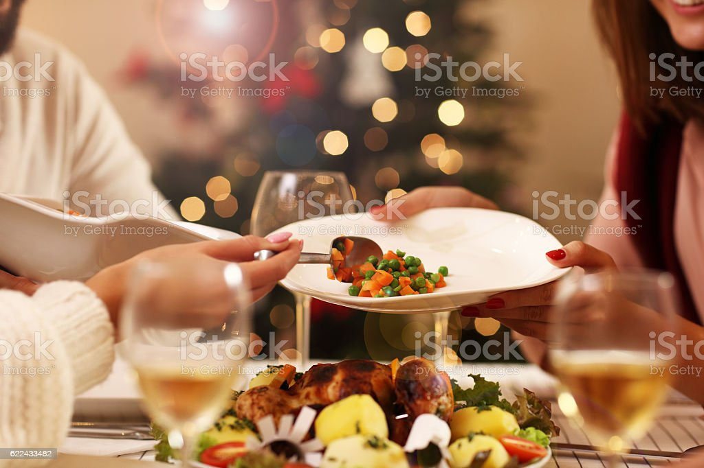 Group of friends celebrating Christmas stock photo