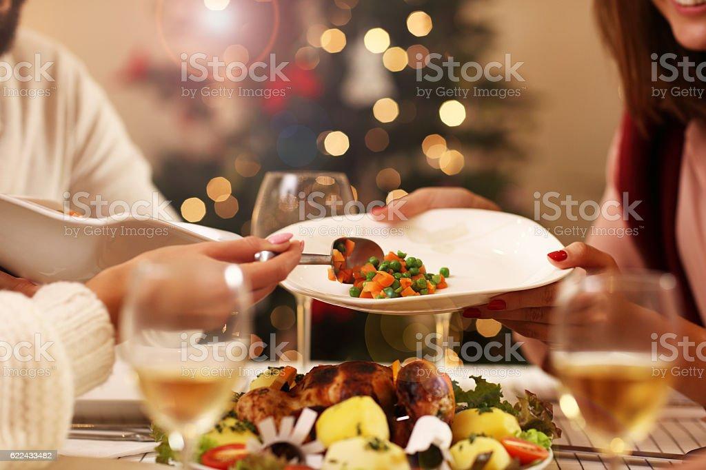 Group of friends celebrating Christmas stock photo