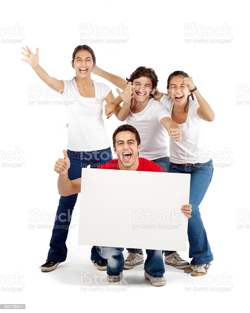 Group of friends cheering holding blank board stock photo