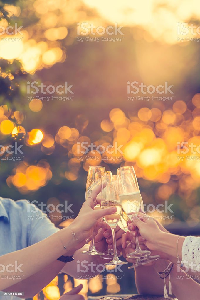 Group of friends drinking champagne. stock photo