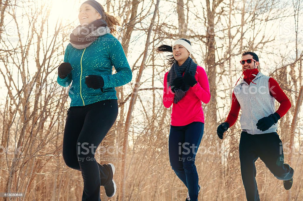 Group of friends enjoying jogging in the snow in winter stock photo