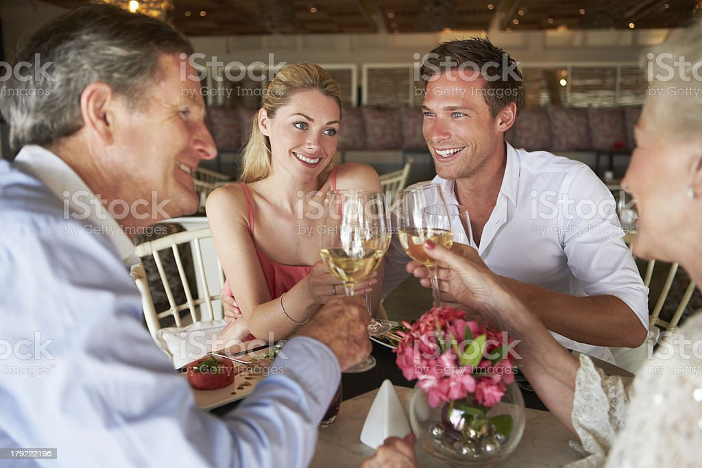 Group Of Friends Enjoying Meal In Restaurant royalty-free stock photo