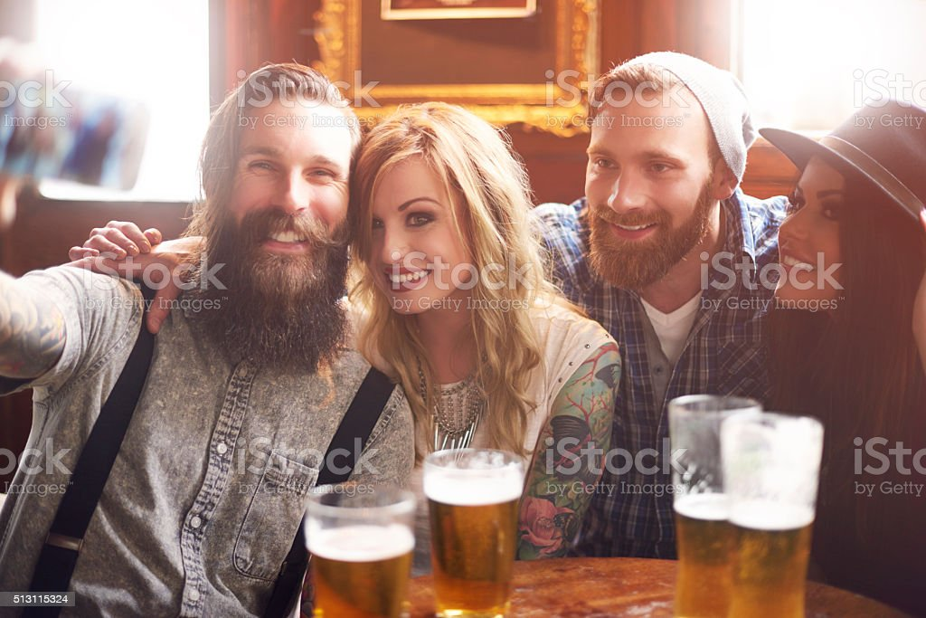 Group of friends enjoying time together stock photo