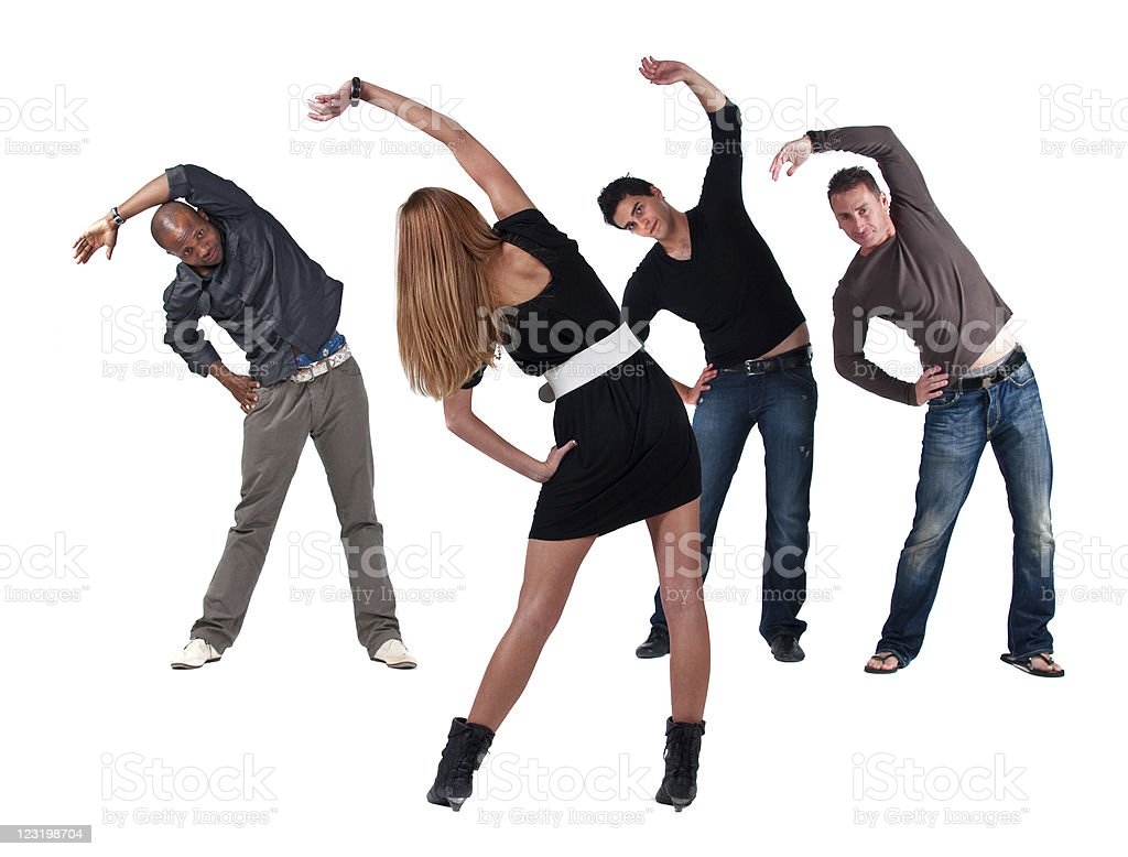 Group of friends exercising royalty-free stock photo