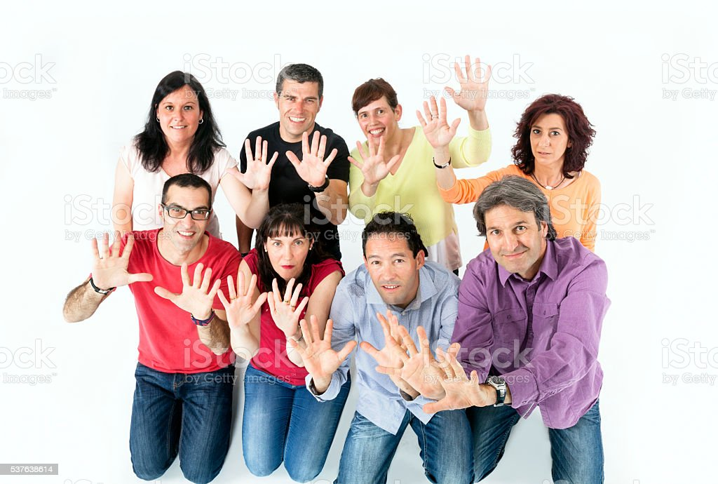 Group of friends, family, showing hands. stock photo