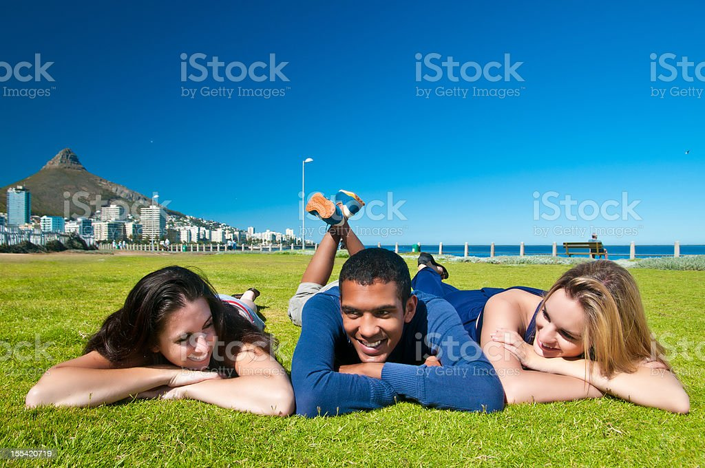 Group of friends hanging out in Cape Town stock photo