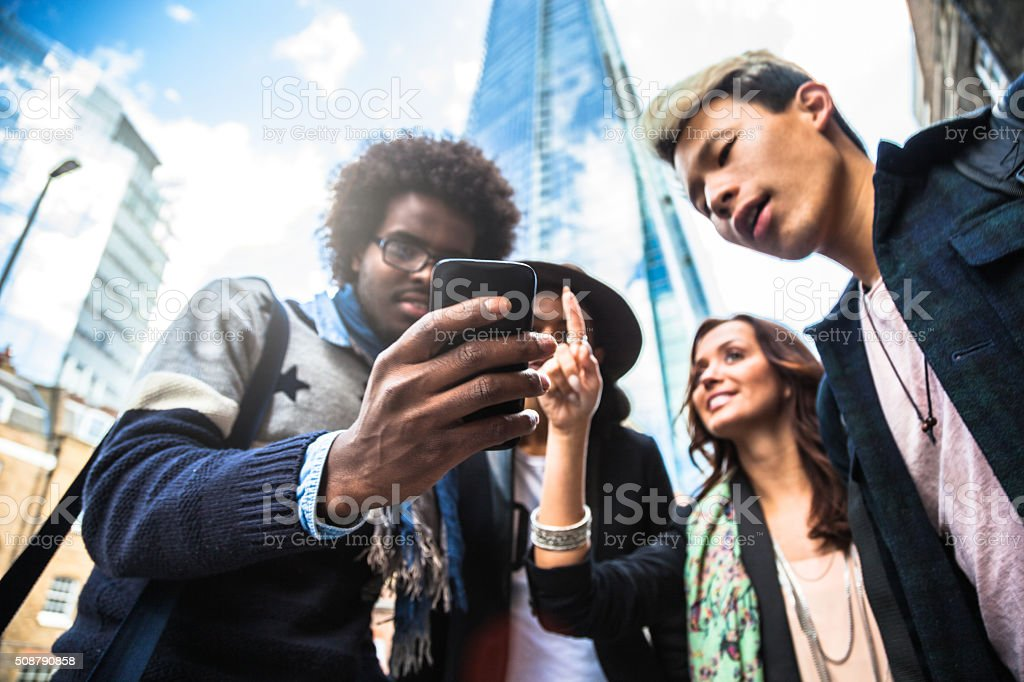 Group of friends hanging out in Central London stock photo