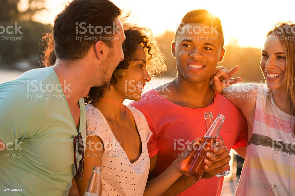 Group of friends hanging out stock photo