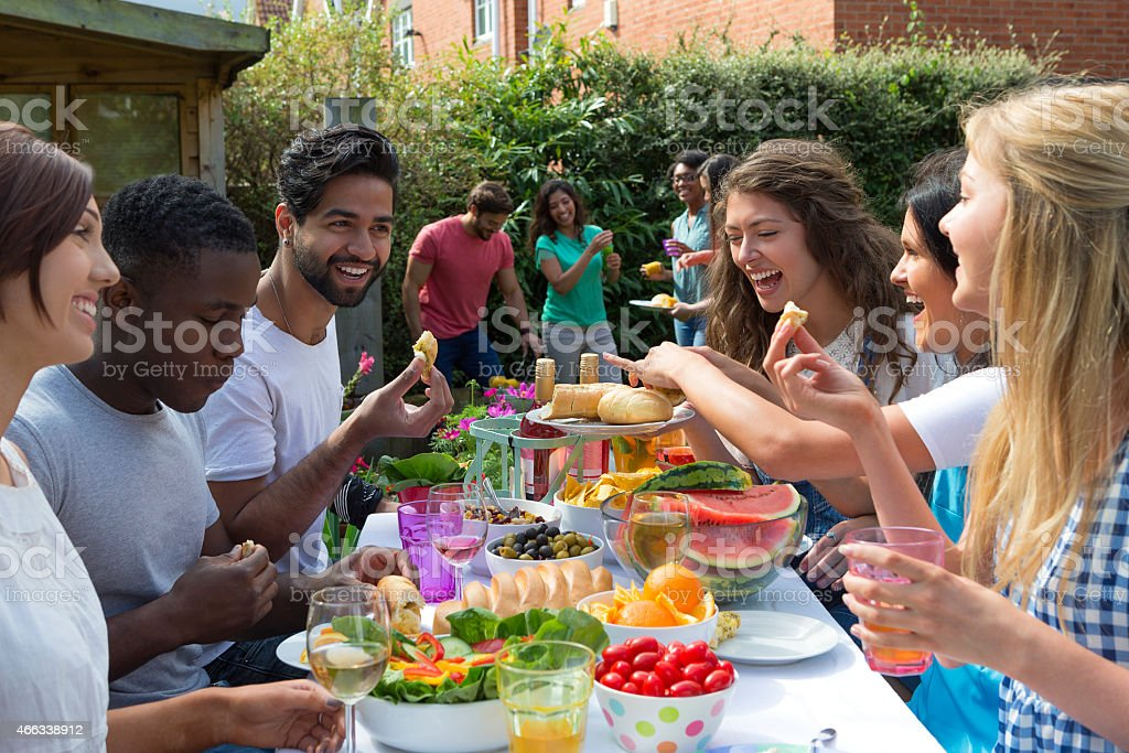 Group of Friends Having a Barbecue stock photo
