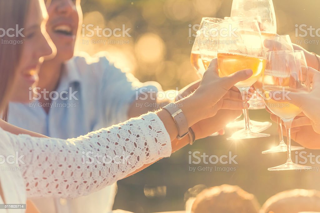 Group of friends having drinks at sunset. They are celebrating with a...