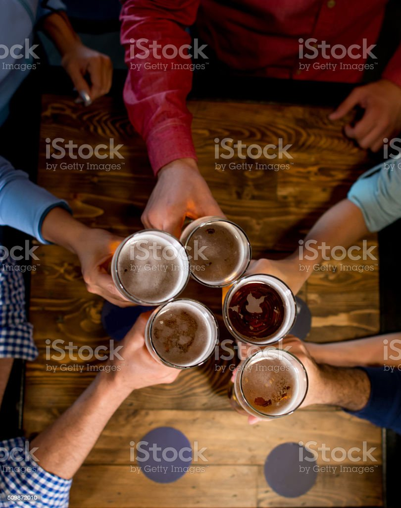 Group of friends having drinks at the bar and making a toast