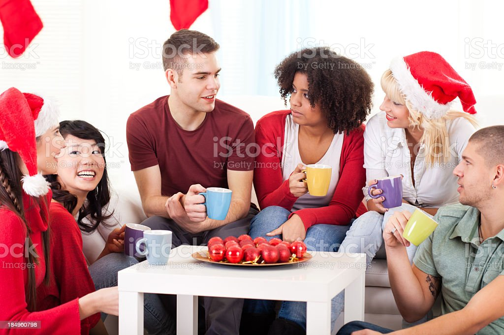 Group of friends having fun for Christmas holidays royalty-free stock photo