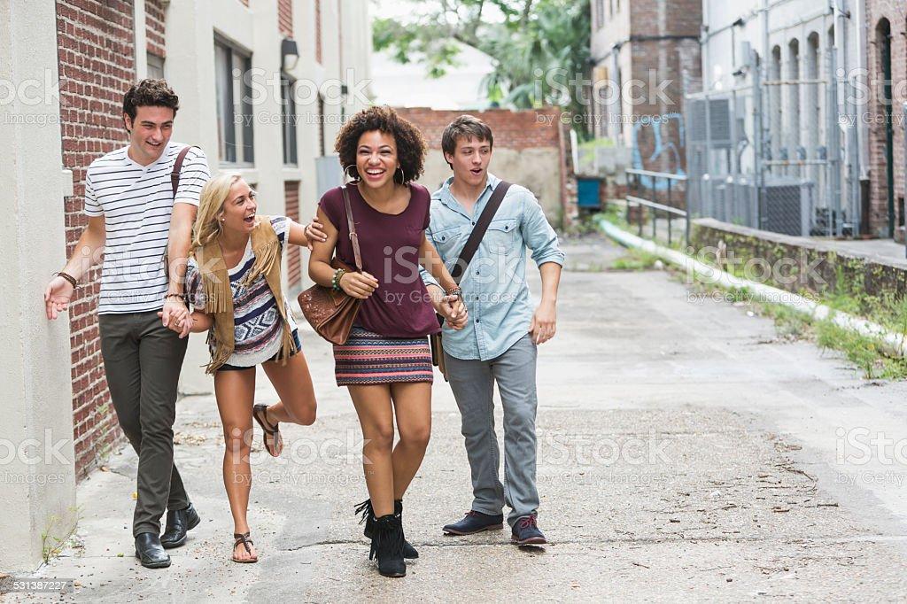Group of friends having fun stock photo