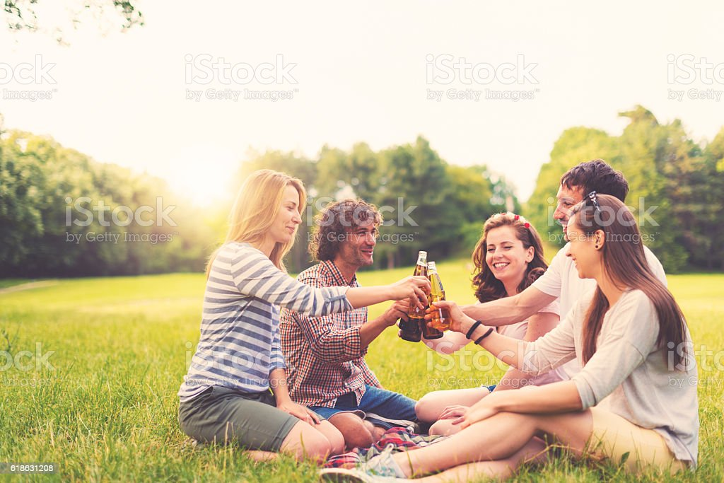 Group of friends having picnic in nature stock photo