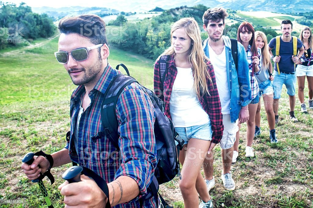 Group of Friends Hiking in Nature stock photo