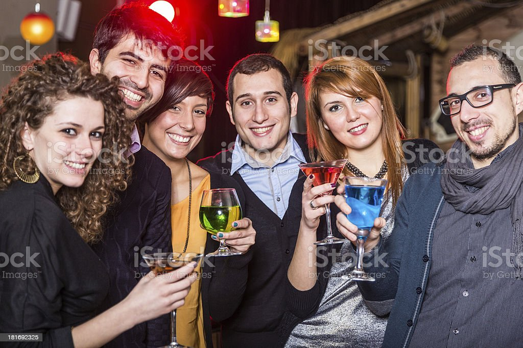 Group of Friends in a Night Club royalty-free stock photo