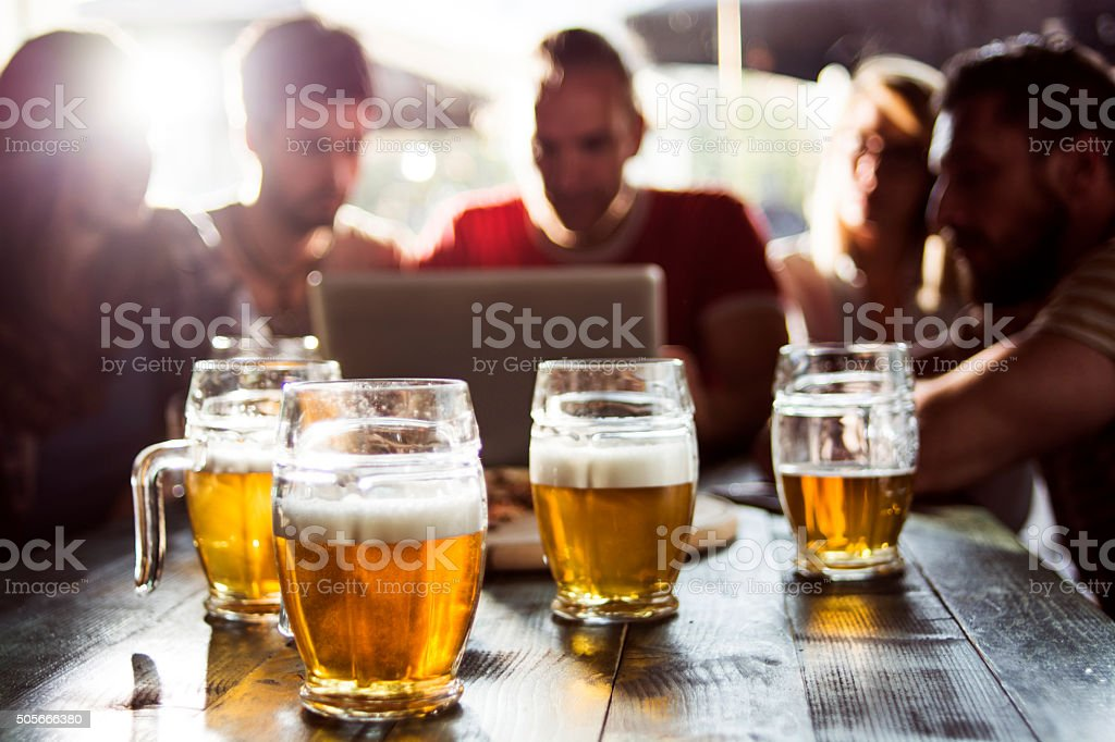 Group of friends in a pub stock photo