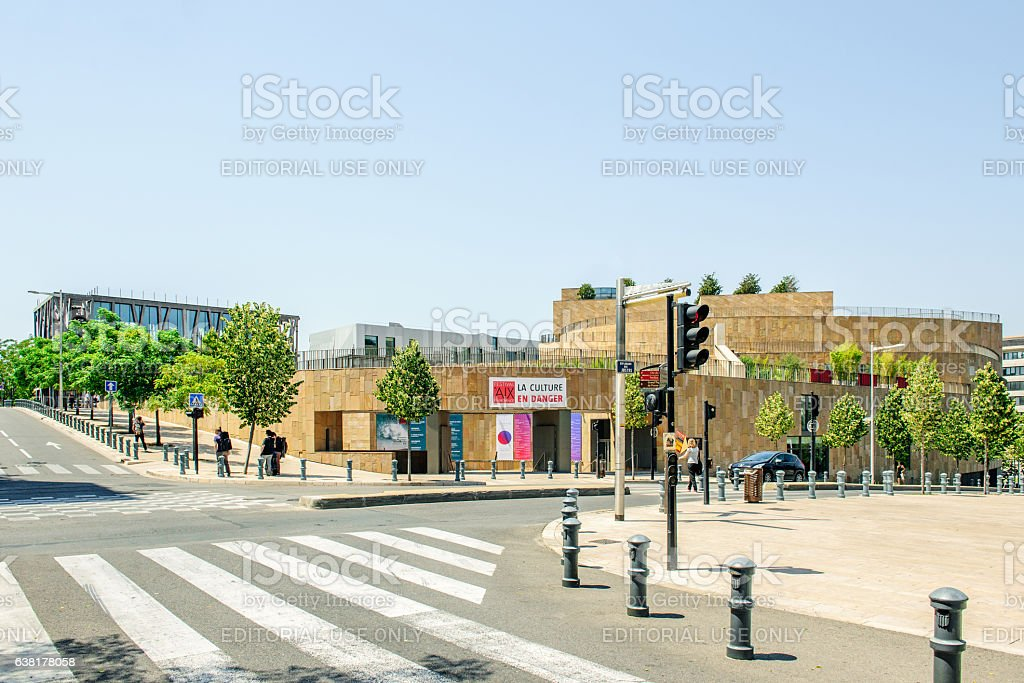 Group of friends in front the Grand Theater de Provence stock photo