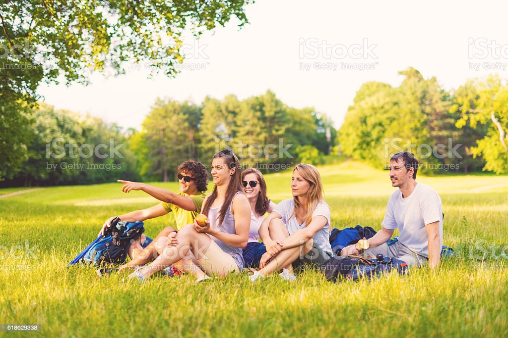 Group of friends in nature having picnic and orienteering stock photo