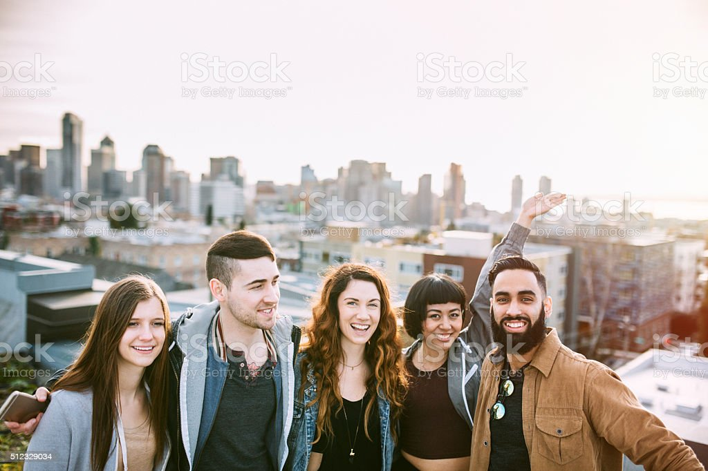 Group of Friends in Seattle City Setting stock photo