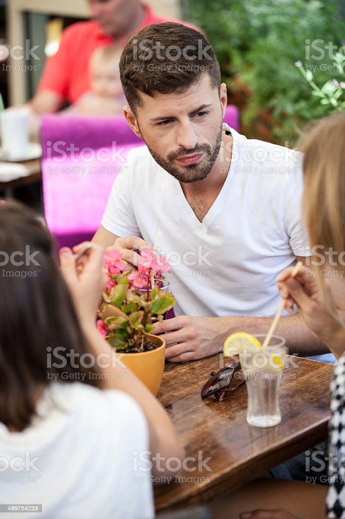Group Of Friends In Sidewalk Cafe royalty-free stock photo