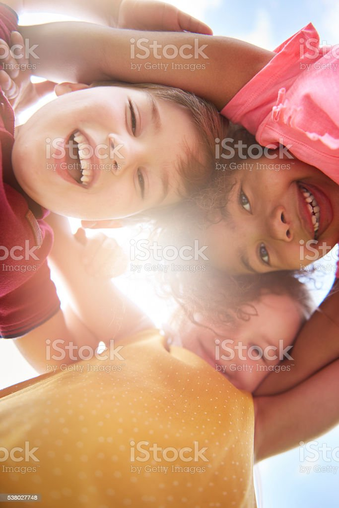 Group of friends in sunny day stock photo