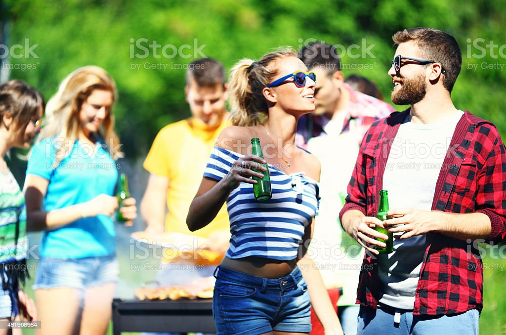 Group of friends on a barbecue picnic. stock photo